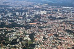 Curitiba, Brazil. Aerial view of Santa Felicidade and Mossungue districts Royalty Free Stock Images