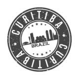 Curitiba Brazil America Round Button City Skyline Design Stamp Vector Travel Tourism. Skyline with emblematic Buildings and Monuments of this famous city stock illustration