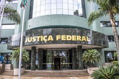Federal police building. Curitiba, Brazil, December 29, 2017. Facade of the headquarters of the Federal Court, in Curitiba Royalty Free Stock Photography