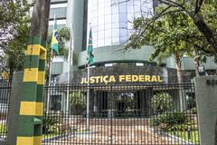 Federal police building. Curitiba, Brazil, December 29, 2017. Facade of the headquarters of the Federal Court, in Curitiba Stock Image