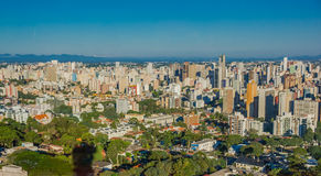 CURITIBA ,BRAZIL - MAY 12, 2016: nice view of some buildings in the city, blue sky as background Royalty Free Stock Photos
