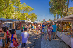 CURITIBA ,BRAZIL - MAY 12, 2016: unidentified people visiting the market, lot of stores located at the sides of the Royalty Free Stock Photos