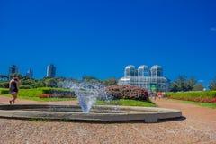 CURITIBA, EL BRASIL - 12 DE MAYO DE 2016: el jardín botánico fue creado con los jardines franceses del estilo y su área ocupa 240 Imagen de archivo