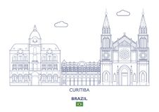 Curitiba City Skyline, Brazil Royalty Free Stock Photos