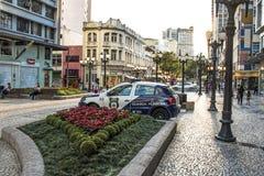 Car of Metropolitan Civil Police Guard in Flowers street in downtown Curitiba. Curitiba, Parana, Brazil, January 03, 2018. Car of Metropolitan Civil Police stock image