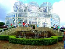Curitiba`s Botanical Garden. The glassy palace,inspired in the old Europe, in the heart of Brazil royalty free stock photos