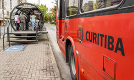 Curitiba's Public Transportation. View of Curitiba's Public Transportation System with its famous red buses and tube-shapped bus stations for loading and Stock Images