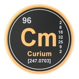 Curium Cm chemical element. 3D rendering. Isolated on white background royalty free illustration