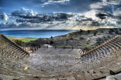 Curium Greco - Roman Amphitheatre in Limassol, Cyprus. Curium (Kourion in local language) Greco - Roman Ancient Amphitheatre. Photo taken in December 2013 in stock photo