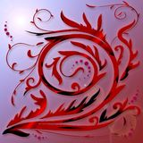 Curl. Abstract Red, Floral Curl on bluish background stock illustration