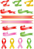 Curl and awareness color ribbons stock photography