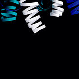 Curl blue ribbon isolated on black abstract background Stock Photography