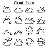 Curl Cloud icon set in thin line style Stock Photography