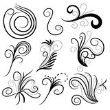 Curl collection. Black curl collection, isolated over white background Stock Photo