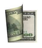 Curl dollar bank note. Curl hundred  dollar bank note Royalty Free Stock Photo
