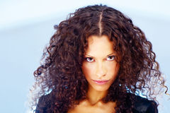 Curl hair woman. Portrait of a pretty woman with curl hair Stock Photos