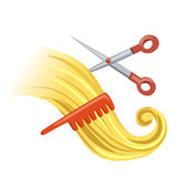 Curl with hairbrush and scissors Royalty Free Stock Photo