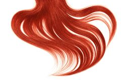 Curl of natural red hair on white background