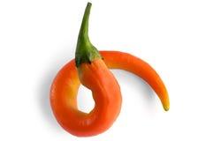 Curl orange hot pepper Stock Photography