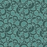 Curl seamless pattern. Green circles abstract ornament. Retro te Royalty Free Stock Photo