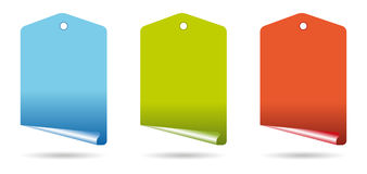Curl tags. Set of three curl tags in colors vector illustration