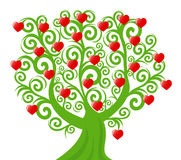 Curl tree with the hearts. Vector illustration of a curl tree with the hearts. valentine's day theme Royalty Free Stock Photography