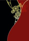 Curl2. Floral abstract designed background in yellow and red Royalty Free Stock Photo