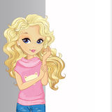 Curle Blonde Girl Hold Banner Stock Images