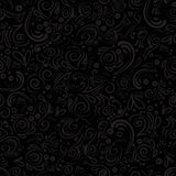 Curle and floral seamless background with waves, dots, curve lines. Curle and floral background with waves, dots, curve lines on black background Royalty Free Stock Image