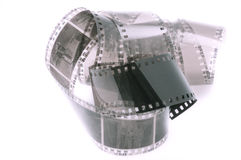 Curled 35mm film strip Royalty Free Stock Image