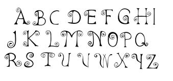 Curled alphabet Royalty Free Stock Images