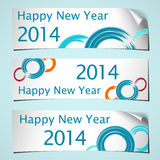 Curled banners 2014. Three white shadowed banners with curled corner and brush circles colored for celebrating of the happy new year 2014. Vector illustration Royalty Free Stock Photos