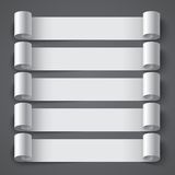 Curled blank paper stripe banners with shadows on Stock Photography