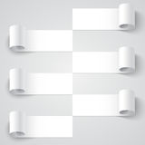 Curled blank paper stripe banners with shadows on Royalty Free Stock Image