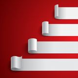 Curled blank white paper stripe banners chart on Royalty Free Stock Images
