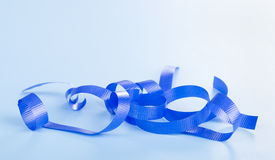 Curled Blue Ribbon Royalty Free Stock Photography