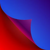 Curled colorful blue and red paper page corner Stock Image