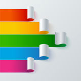 Curled colorful paper stripe banners arrow on Royalty Free Stock Photography