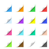 Curled Corner. Curled Paper Corners with Multicolor Backgrounds Royalty Free Stock Photos
