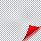 Curled corner of paper on transparent background Stock Photography