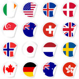 Curled corner stickers set with flags of the most developed coun Royalty Free Stock Images