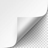 Curled corner of White paper with shadow Mock up Close up  on Transparent Background Royalty Free Stock Image