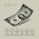 A curled dollar bill 2017 calendar. For print or web Royalty Free Illustration