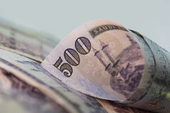 Curled Five Hundred Riyal notes, Close-up view Stock Photography