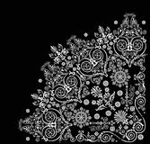 Curled floral white quadrant. Illustration with white decoration on black background Stock Images