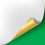 Curled Golden Metalic Corner Vector. Paper with Shadow Mock up Close up Isolated Royalty Free Stock Photo