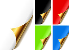 Curled golden page corners Royalty Free Stock Photos