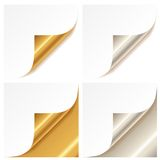 Curled golden and silver page corner Royalty Free Stock Images