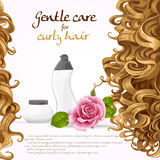 Curled hair care background Royalty Free Stock Photography