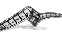 Curled Movie Film Strip (black and white) Royalty Free Stock Images